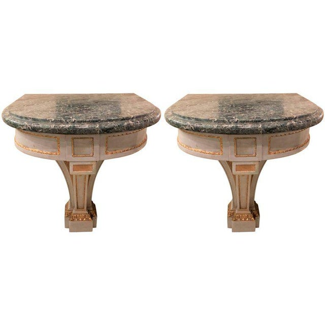 Hollywood Regency Painted and Marble Demilune Consoles - a Pair For Sale - Image 11 of 12