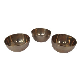 Small Brass Serving Bowls- 3 - Pieces For Sale