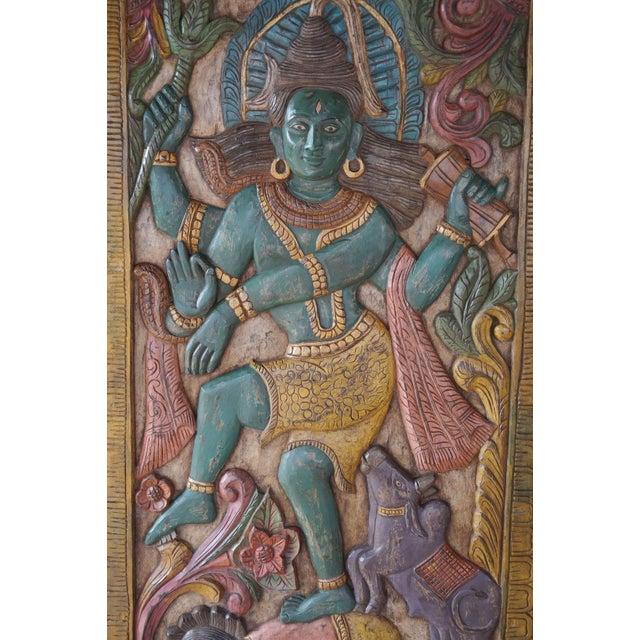 Art Deco Vintage Indian Hand Carved Shiva Dancing Transformation Energy Natraja Door Panel Wall Relief For Sale - Image 3 of 4
