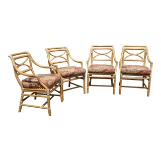 Set of Four McGuire Vintage Mid Century Bamboo Side Chairs W Rose Floral Fabric For Sale