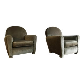 1980s Poltrona Frau Style Crushed Velvet Sage Lounge Chairs - a Pair For Sale