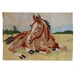 1940s Antique American Handmade Hooked Rug - 2′10″ × 4′ For Sale