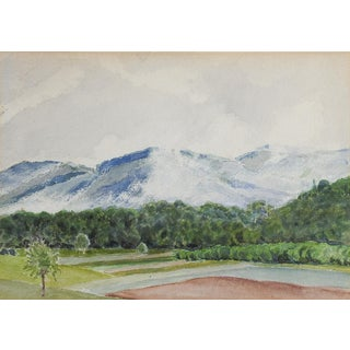 Mountains & Orchards Watercolor Landscape Painting For Sale