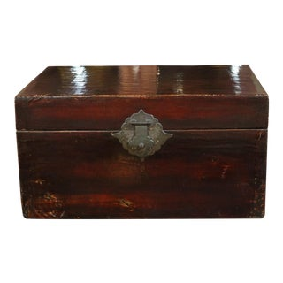1920s Chinese Black Leather Trunk For Sale