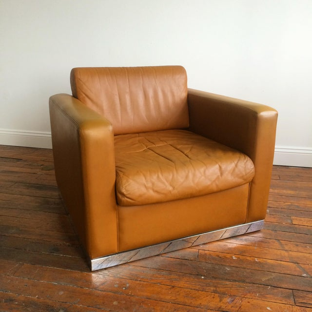 John Geiger Camel-Colored Leather Club Chair - Image 5 of 8
