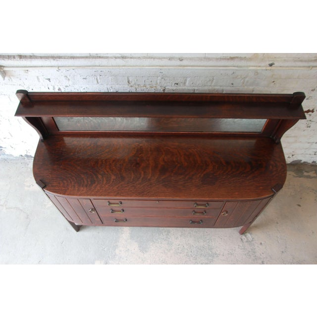 Antique Mission Oak Sideboard by Grand Rapids Chair Co., Circa 1910 For Sale - Image 10 of 12