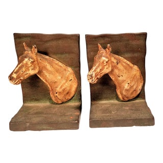 Vintage Hubley Horse Cast Iron Bookends - a Pair