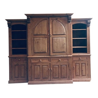 Vintage Hand Carved 3 Piece Pine Library Wall Unit For Sale