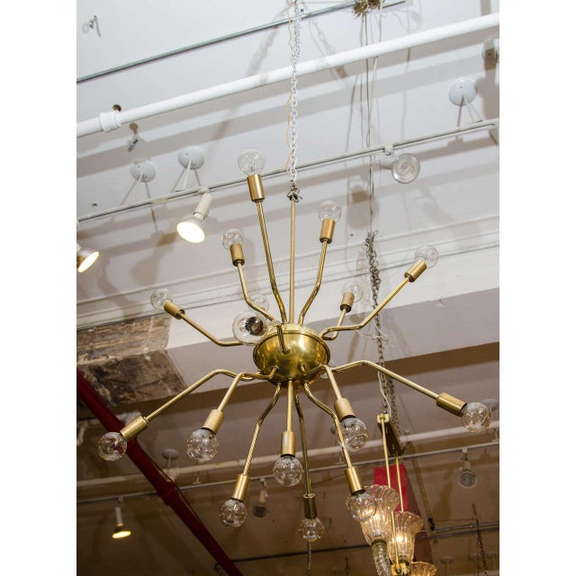 Italian Brass Spider Sputnik Chandelier Pendant Attributed to Arredoluce - Image 3 of 7
