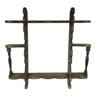 Antique Scalloped Wood Wall Shelf For Sale