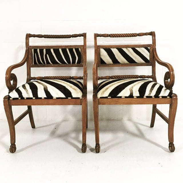 Louis XV Vintage Carved Zebra Armchairs - a Pair For Sale - Image 3 of 10