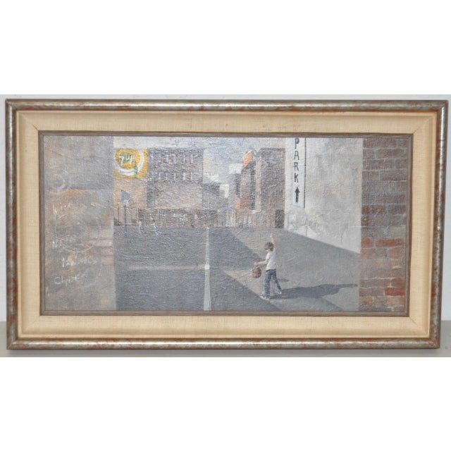 Urban Landscape / Inner City Basketball Court Oil Painting c.1970s Wonderful inner city basketball court. Possibly New...