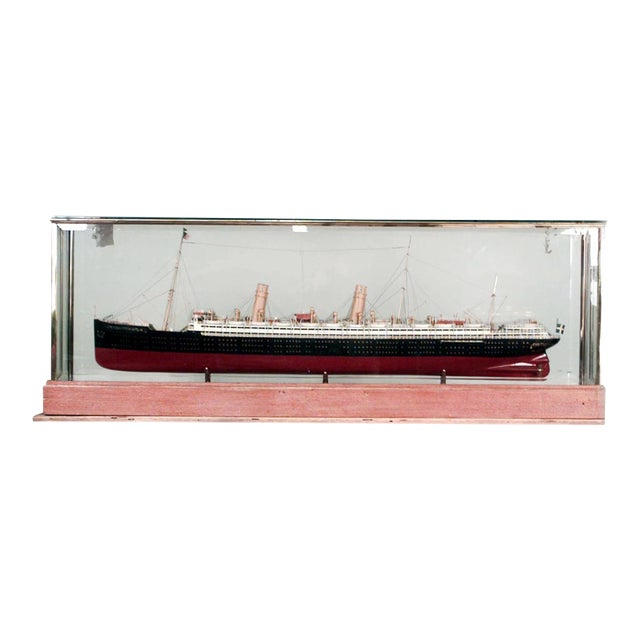 Ship Model of Swedish Luxury Liner in Glass Case For Sale