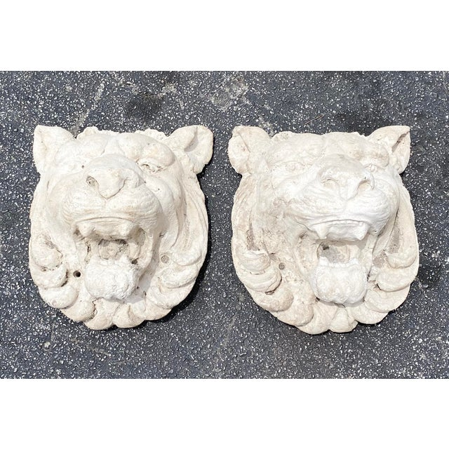 Vintage Pair of Cast Stone Lion Heads For Sale In Miami - Image 6 of 6