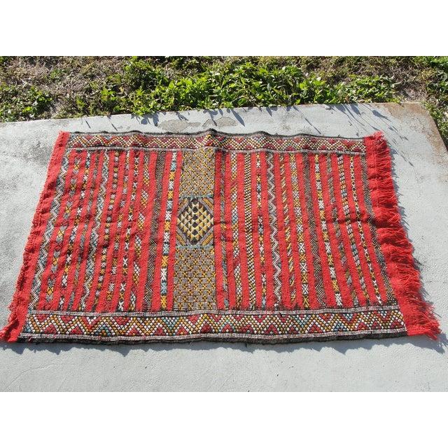 "Red Moroccan Tribal Kilim Rug - 2'7"" X 4' - Image 2 of 6"