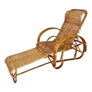Mid Century Rattan Caning Lounge Chair Chaise For Sale