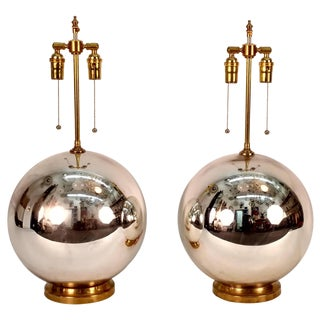 Large Pair of Mercury Glass Ball Lamps For Sale