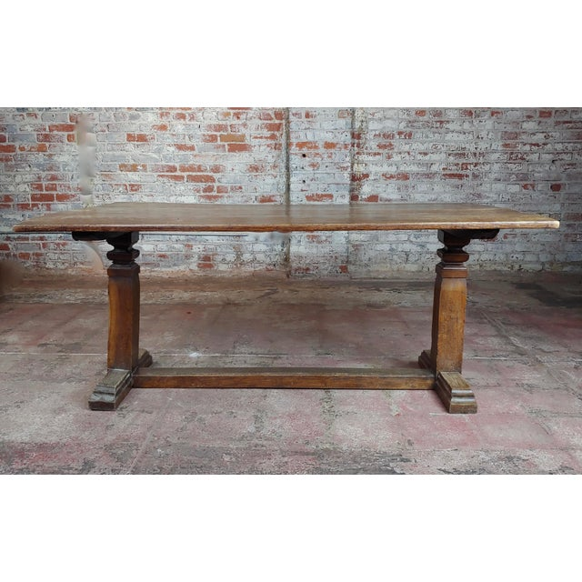 19th Century Farmhouse Trestle Dining Oak Table For Sale - Image 4 of 10