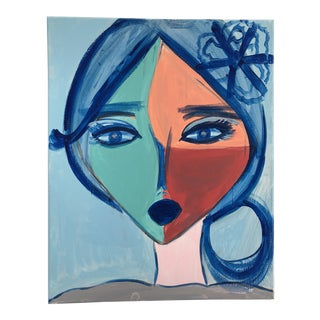 "Anastasia George ""Cléo"" Original Face Acrylic Painting For Sale"