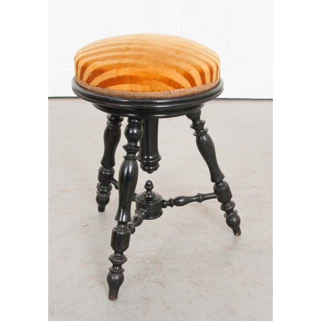French 19th Century Jacobean-Style Ebonized and Spool-Turned Piano Stool For Sale - Image 4 of 6