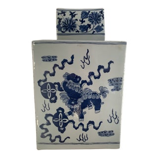 Large Scale Blue and White Chinese Square Ceramic Ginger Jar For Sale