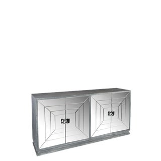 Contemporary Gray Mirrored Sideboard For Sale
