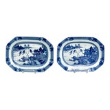 Image of 18th Century Chinese Octagonal Platters- A Pair For Sale
