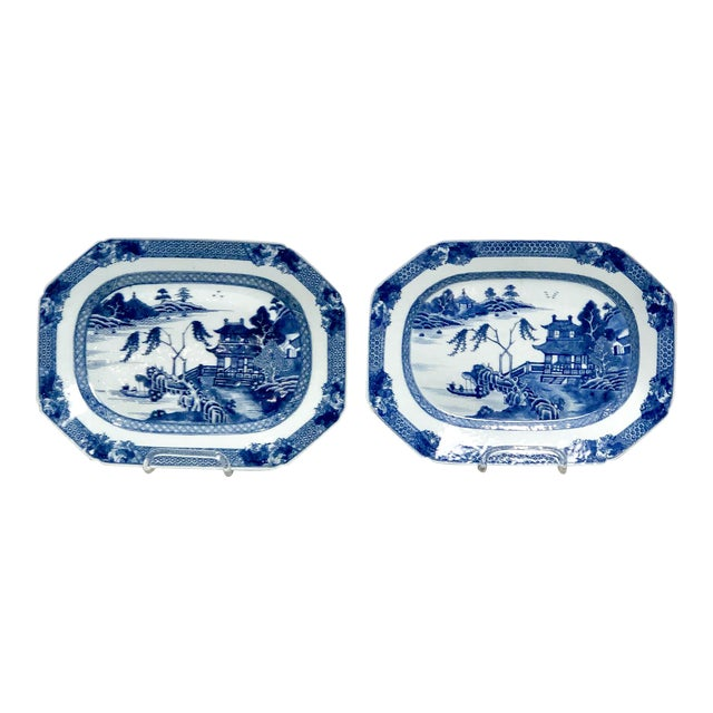 18th Century Chinese Octagonal Platters- A Pair For Sale