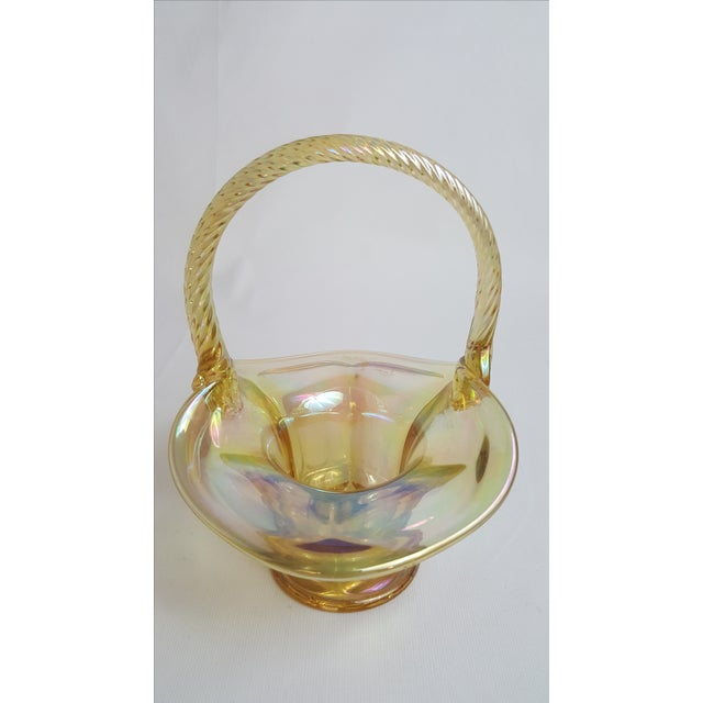 Fenton Pale Yellow Carnival Glass Basket For Sale - Image 4 of 5