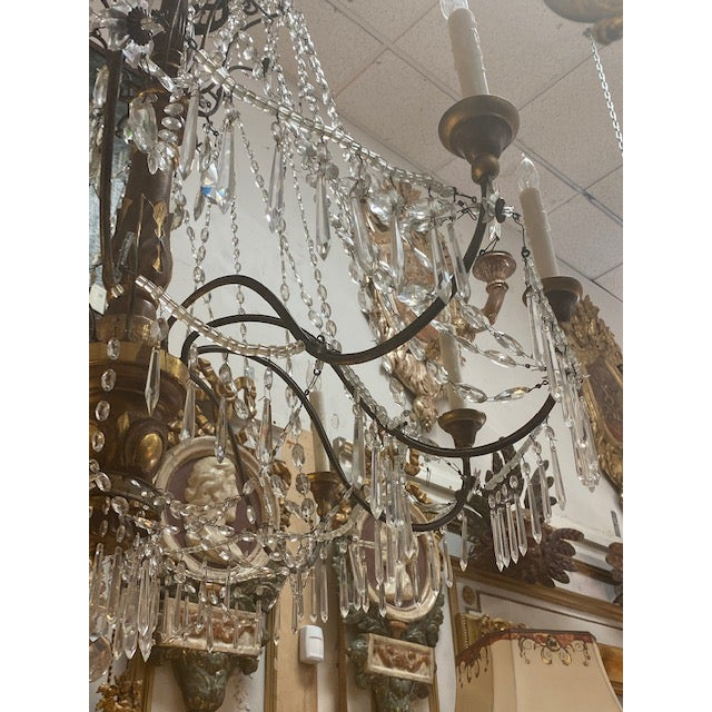 19th C. Italian Antique Element Carved Wood, Iron and Crystal Chandelier For Sale - Image 11 of 13
