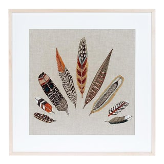 Plumes Framed Textile Art For Sale