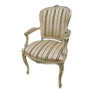 Vintage Carved & Hand Painted Venetian Style Arm Chair For Sale