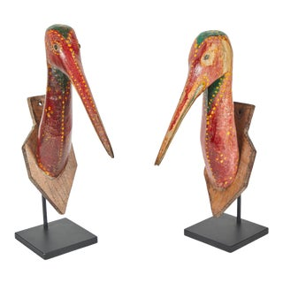 1930's Indonesian Guardian Bird Plaques - a Pair For Sale