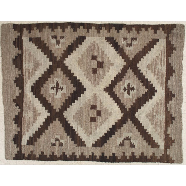 Early 20th Century Antique Navajo Handmade Wool Rug- 5′ × 6′4″ For Sale - Image 9 of 9