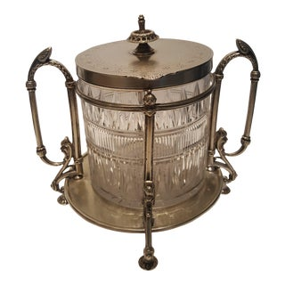 Victorian Silver Plate Cut Glass Biscuit Barrel For Sale