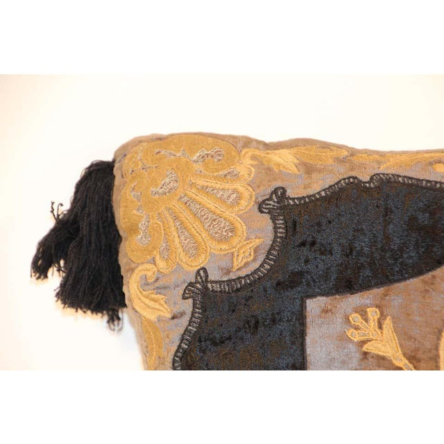 Baroque Silk Velvet Applique Throw Decorative Pillow with Tassels For Sale - Image 9 of 11