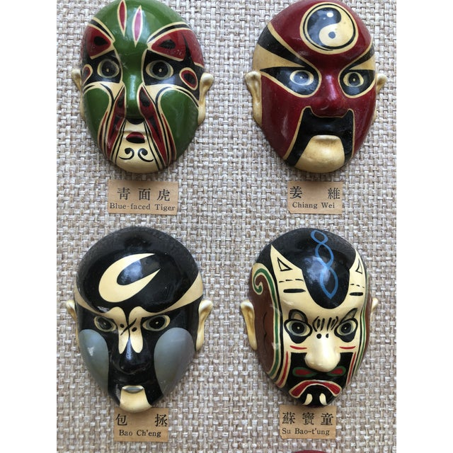 Vintage 12 Masks Chinese Wall Hanging For Sale - Image 4 of 12