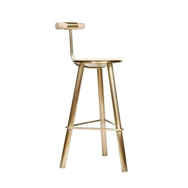 Mid-Century Modern Customizable Set of 4 Erickson Aesthetics Brass Stool For Sale - Image 3 of 6