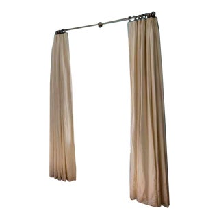 Belgian Textured Linen 3-Fold Tailored-Pleat Drapery - a Pair For Sale