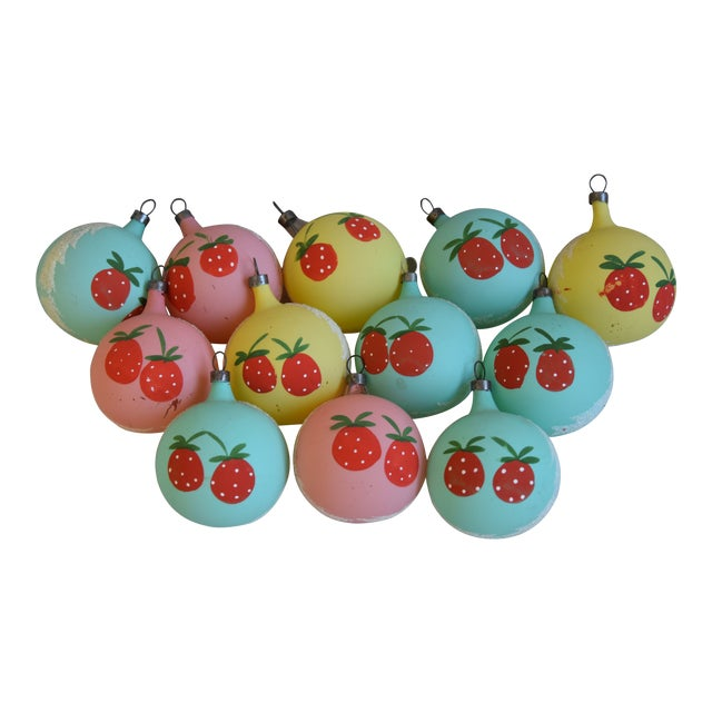 1960s Christmas Tree Ornaments W/Box - Set of 12 For Sale