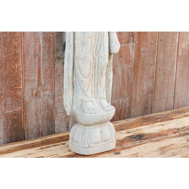 1920s Bodhisattva Stone Quan Yin Statue For Sale - Image 5 of 10
