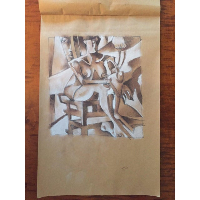 Vintage Primitive Cubism Drawing For Sale - Image 4 of 6