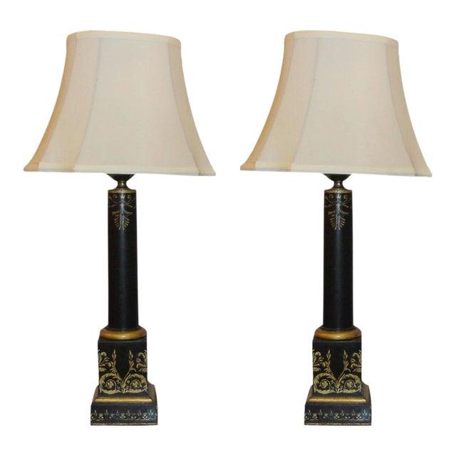 Antique Ebonized & Gilt Tole Decorated Empire Lamps - A Pair For Sale