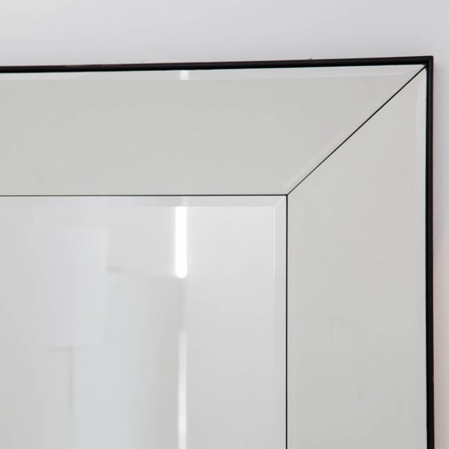 Discontinued pair of large Williams Sonoma beveled mirrors. Can be hung vertically or horizontally with included mounting...