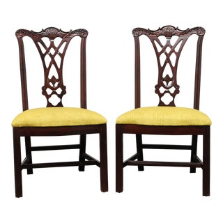 Thomasville Mahogany Chippendale Straight Leg Dining Side Chairs - Pair 2 For Sale