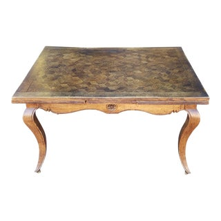 1940s French Country Oak Parquet Top Draw Leaf Dining Room Table For Sale