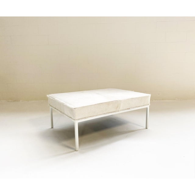 Ivory The Forsyth Ottoman in Brazilian Cowhide For Sale - Image 8 of 13