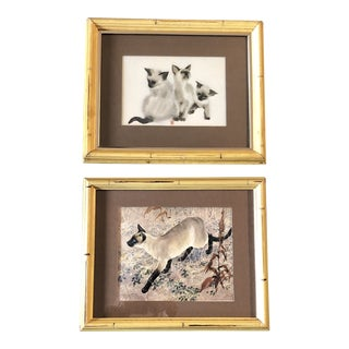 Gallery Wall Collection Vintage Siamese Cat Prints in Faux Bamboo Frames - a Pair For Sale