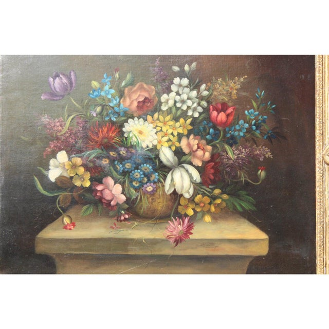 Early 20th C. Dutch Italian Floral Painting For Sale In San Diego - Image 6 of 10