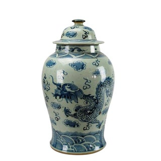 Blue & White Dragon Porcelain Jar
